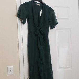 Tie-Front Ruffle Midi Dress - NEW NWT